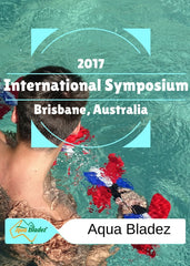 young man doing bicep curls with aqua bladez in pool. 2017 brisbane, australia, international symposium