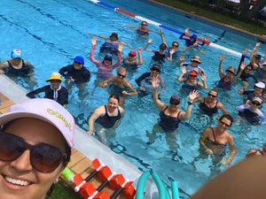 group fitness aqua bladez class of women