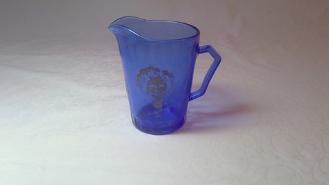 Hazel Atlas Honeycomb Depression Glass Shirley Temple Cobalt Blue Mini Pitcher