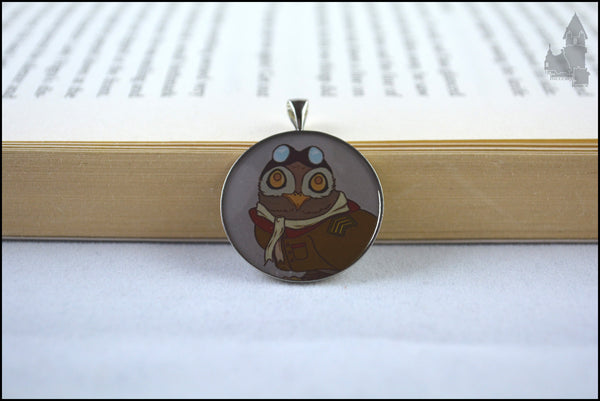 Aviator Owl resin pendant