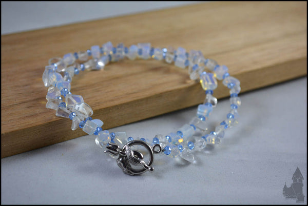 Blue Ice - Crystal and Moonstone necklace