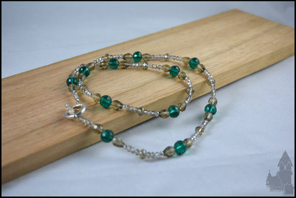 Marquise in Green - Crystal beaded necklace