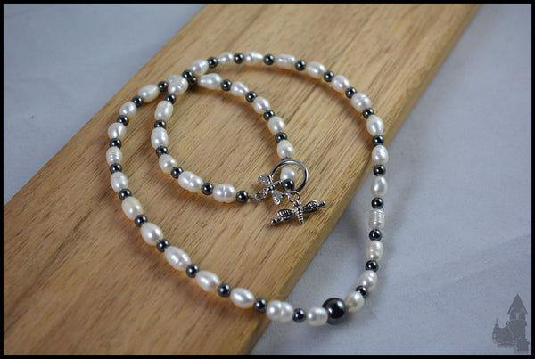 My Lady's Tears - Freshwater pearl and haematite