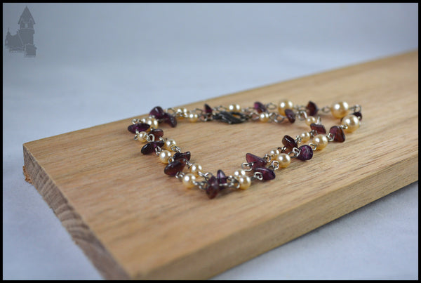 Pomegranate - Faux pearl and garnet
