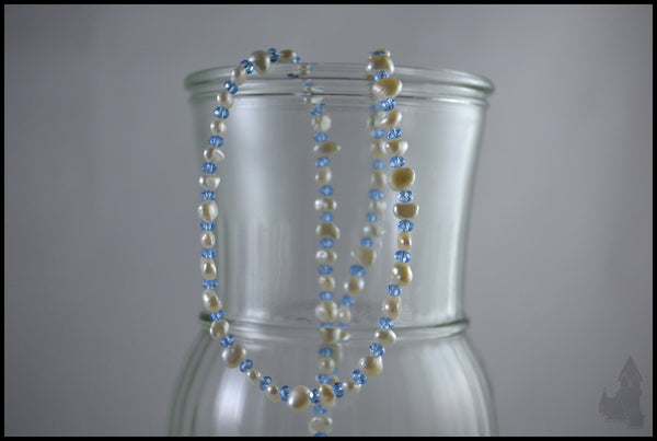 Snowdrop - Freshwater pearl and crystal necklace
