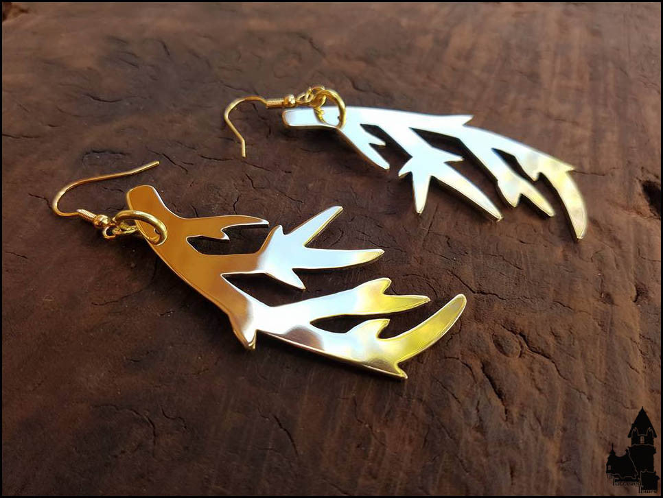 Stag Lord solid brass earrings