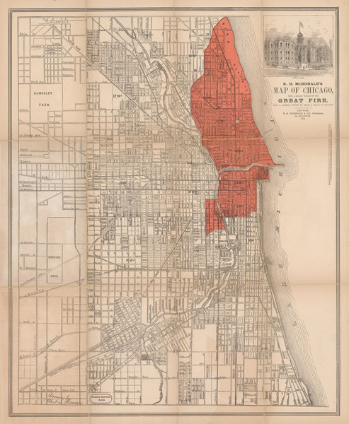 1871 R.H. McDonald's Map of Chicago with a correct outline of the Great Fire...