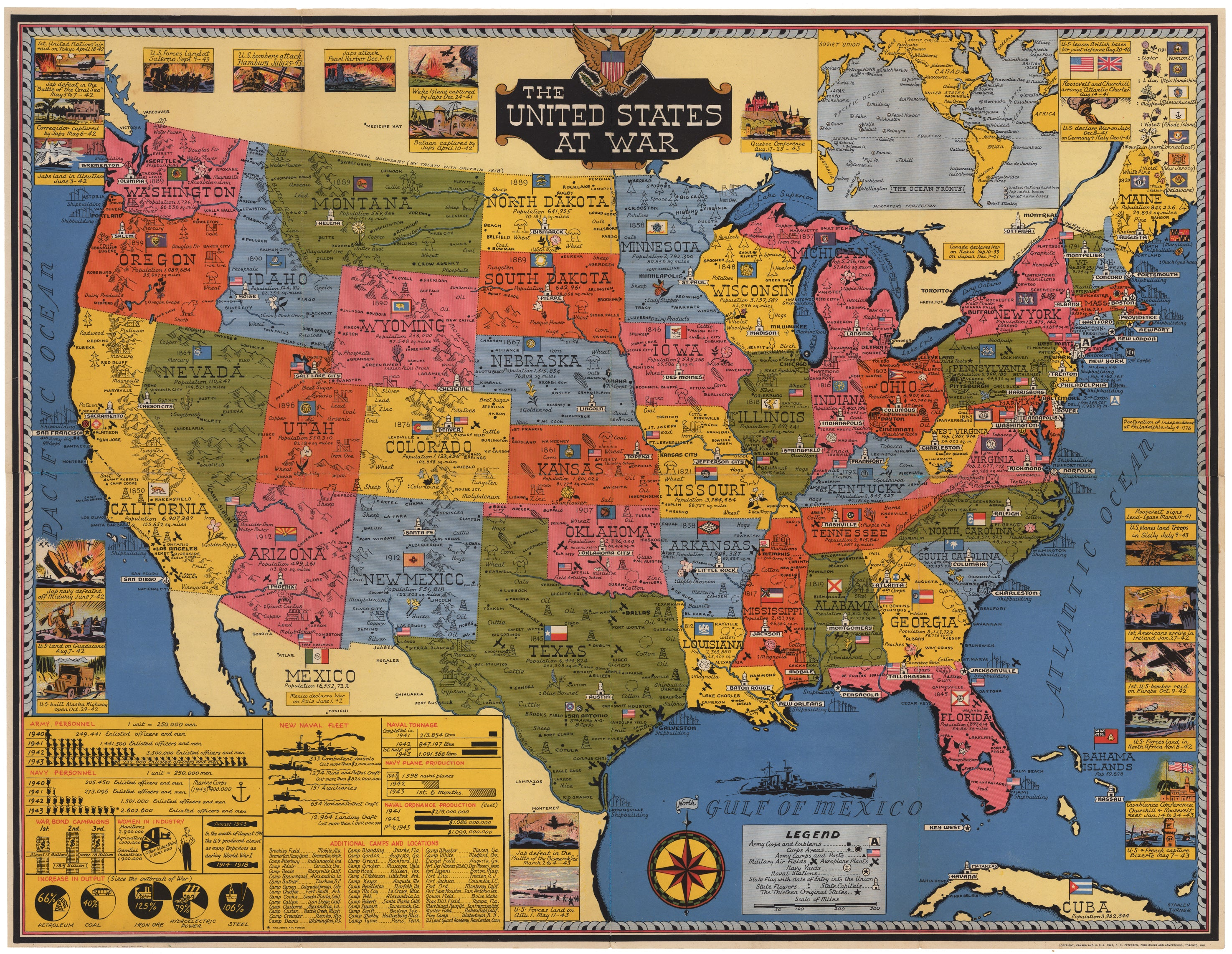 Giclee Map Print Of The United States At War By Turner 1943 The - Us-map-1819