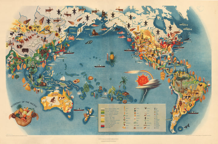 Mid-Century Pictorial Map of the Pacific, Americas, Asia, and Australia - Vintage Map Reproduction