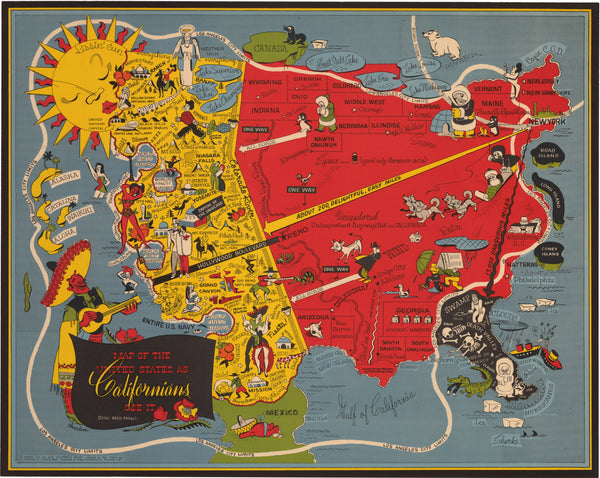 1947 Map of the United States as Californians See It