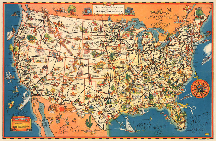 A Good-Natured map of the United States... by: Greyhound 1934