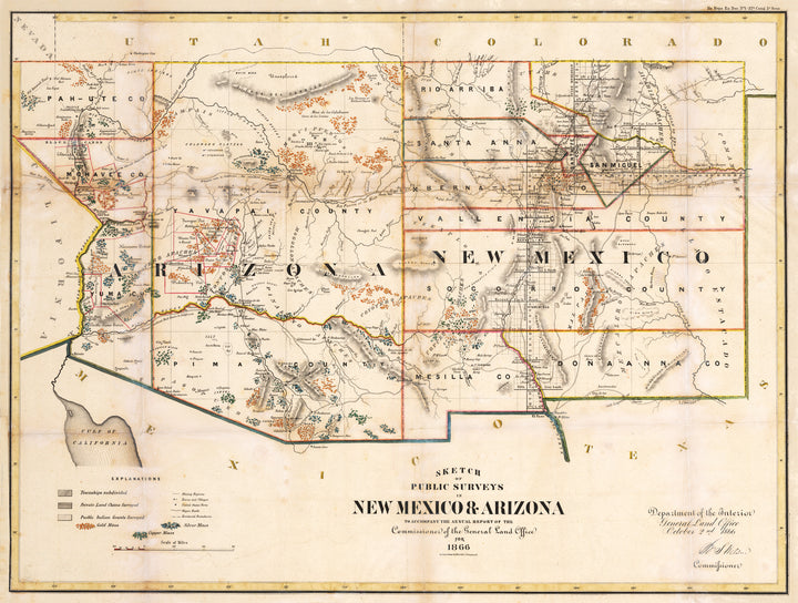 Sketch of Public Surveys in New Mexico & Arizona to accompany the annual report of the Comission of the General Land Office for 1866 By: General Land Office