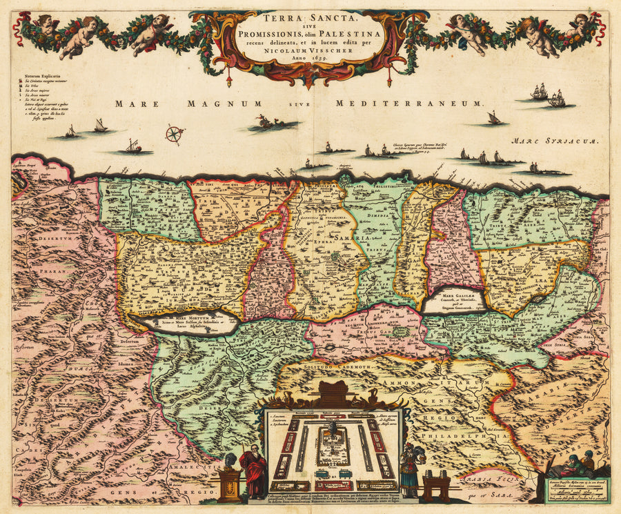 Vintage Map Reproduction of Terra Sancta by: Visscher 1666