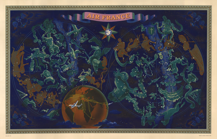 Air France - Celestial Map By: Lucien Boucher Date: 1950