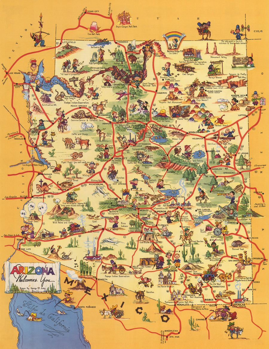 Pictorial Map: Arizona Welcomes You by George Avey, 1942