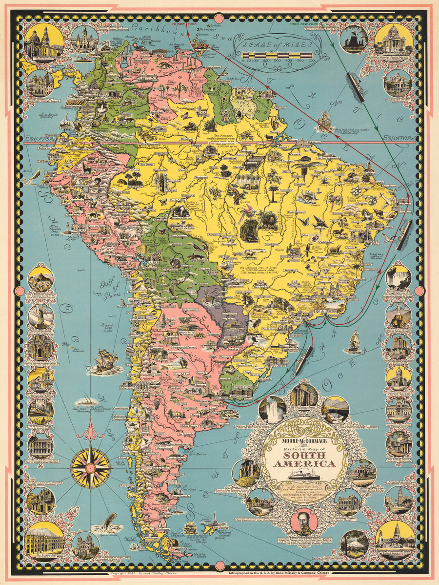 Moore-McCormack Lines Pictorial Map of South America By: Ernest Dudley Chase Date: 1942
