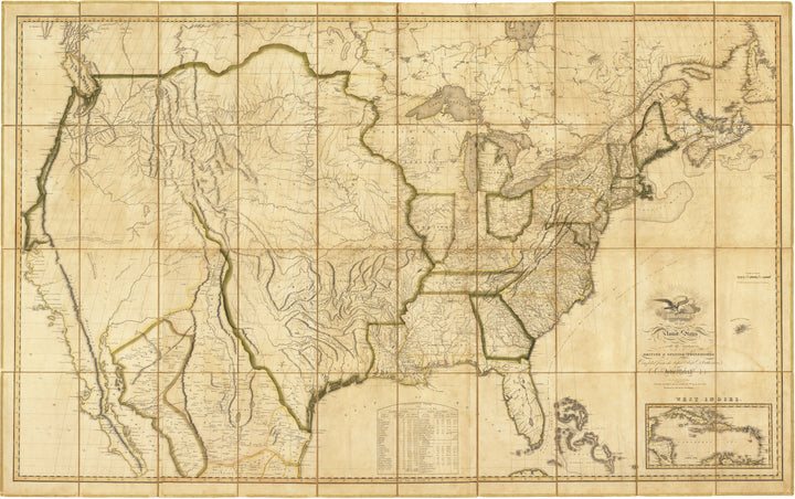 Map of the United States with the contiguous British and Spanish Possessions by: John Melish, 1816 - Fine Print Reproduction