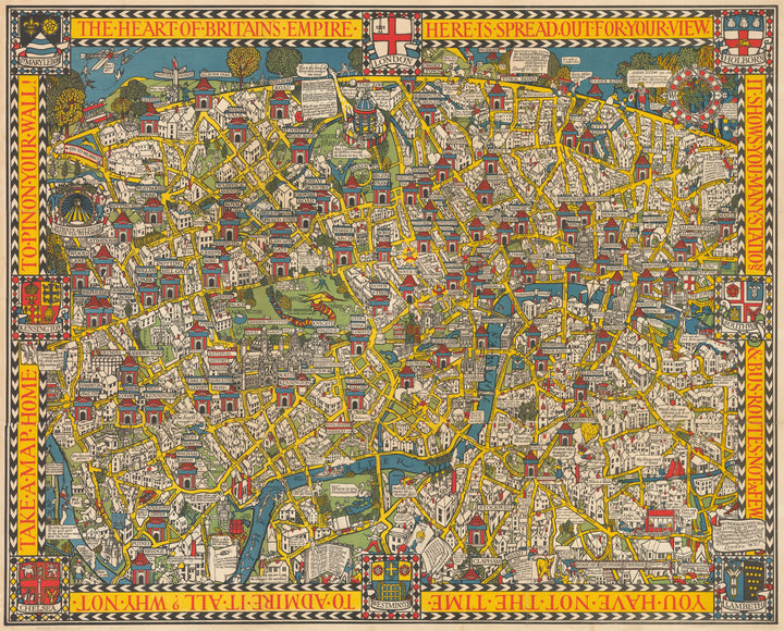 The Wonderground Map of London Town by: Leslie MacDonald Gill | Fine Print Reproduction