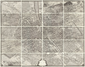 Turgot Plan of Paris | Plan de Paris commencé l'année 1734. By: Michel-Étienne Turgot & Louis Bretez, Date of Original: 1739 (published) Paris | This is a fine print wall covering of a monumental twenty sheet map of Paris that is widely considered to be one of the most impressive city views every created.
