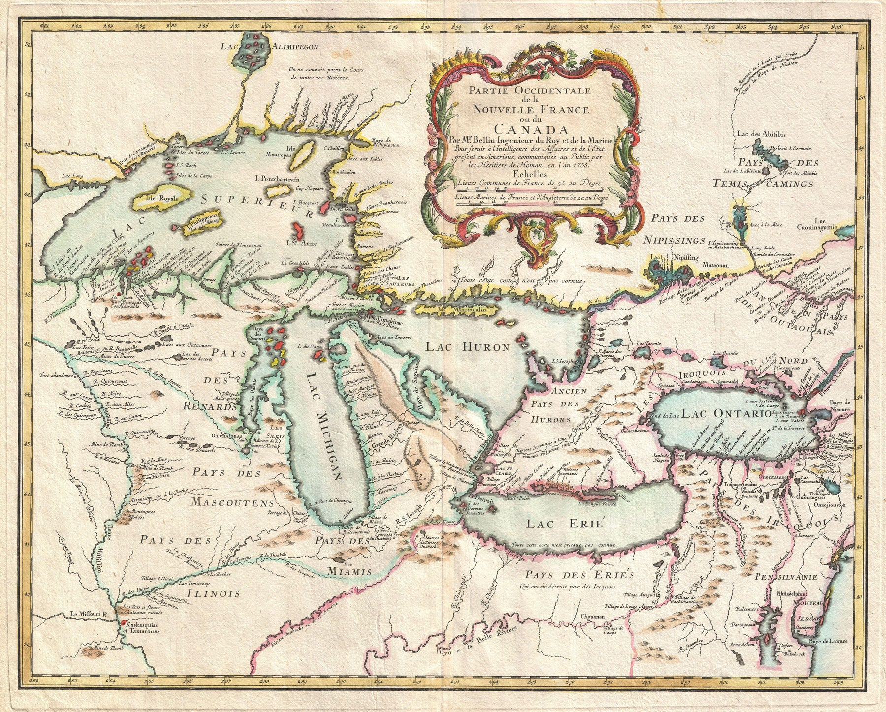 18th Century Map of the Great Lakes by: Jacques Nicolas Bellin - the ...