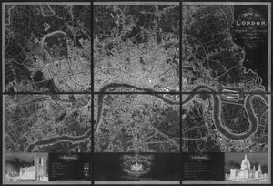 Greenwoood's Six Sheet Map of London, 1827 | Fine Reprint Wall Mural - Inverted Black & White