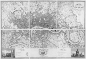 Greenwoood's Six Sheet Map of London, 1827 | Fine Reprint Wall Mural - Black & White
