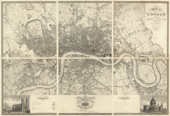 Greenwoood's Six Sheet Map of London, 1827 | Fine Reprint Wall Mural - Original Color