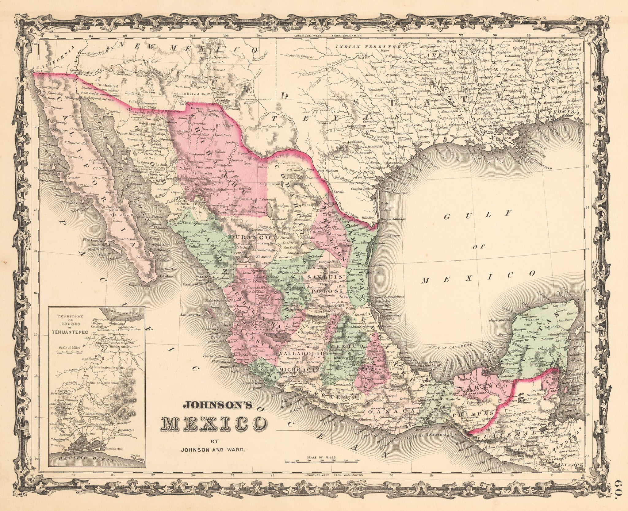 1862 Johnson S Mexico The Vintage Map Shop Inc