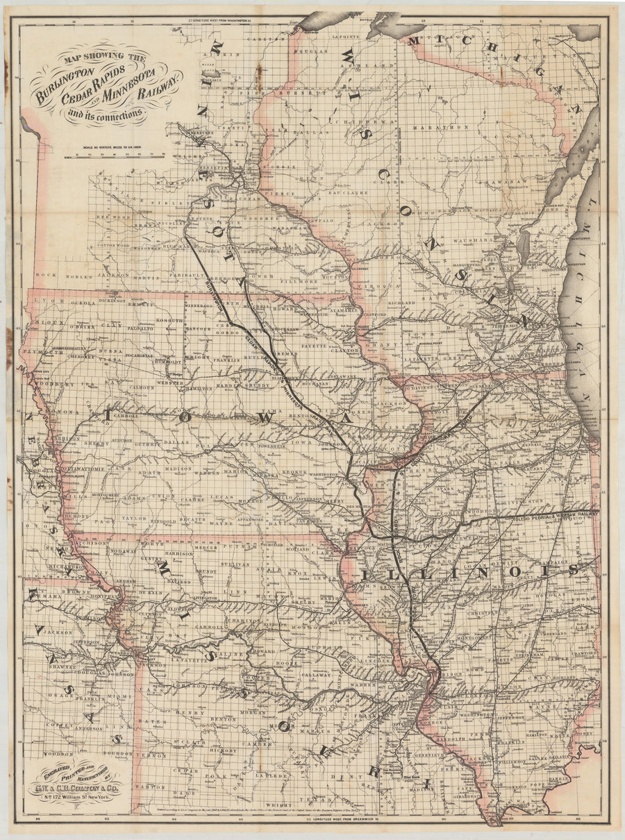 1868 Map Showing the Burlington Cedar Rapids and Minnesota Railway with its Connections