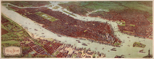 New York | Original Color By: Josef Ferdinand Klemm / F. E. Wachsmutg, 1908 - Bird's Eye View of Manhattan and portions of the Bronx, Queens, Brooklyn and the Jersey side of the Hudson River