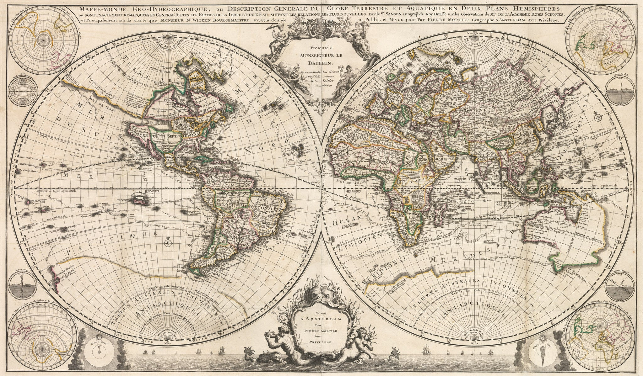 18th Century Map of the World by Covens & Mortier