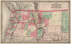 Oregon, Washington, Idaho, Montana and British Columbia. By: J.H. Colton 1869