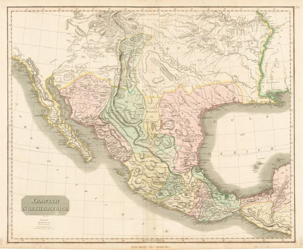 1814 Spanish North America on tectonic map of north america, glacial map of north america, physiographic map of north america,
