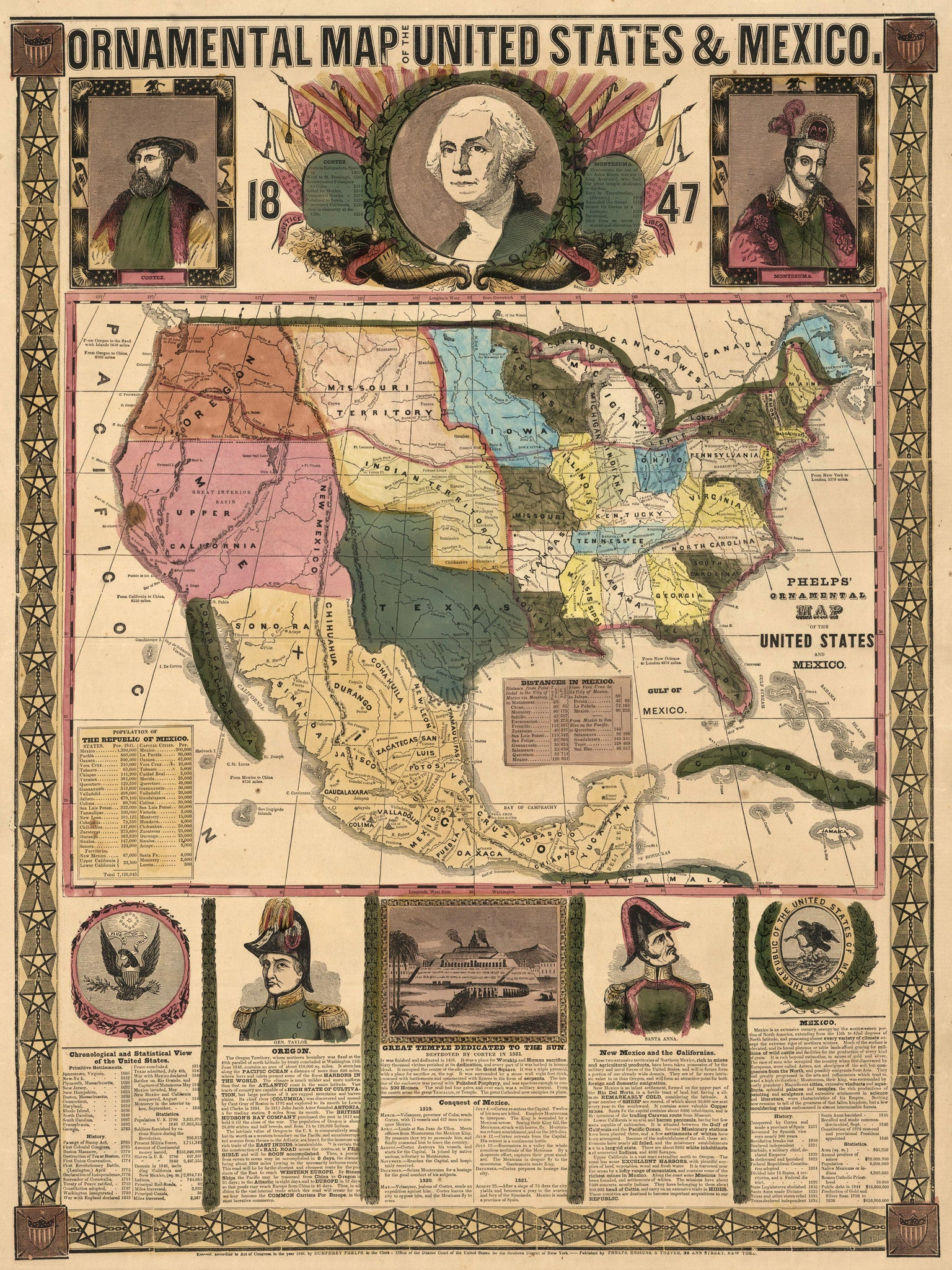 1847 Ornamental Map of the United States and Mexico
