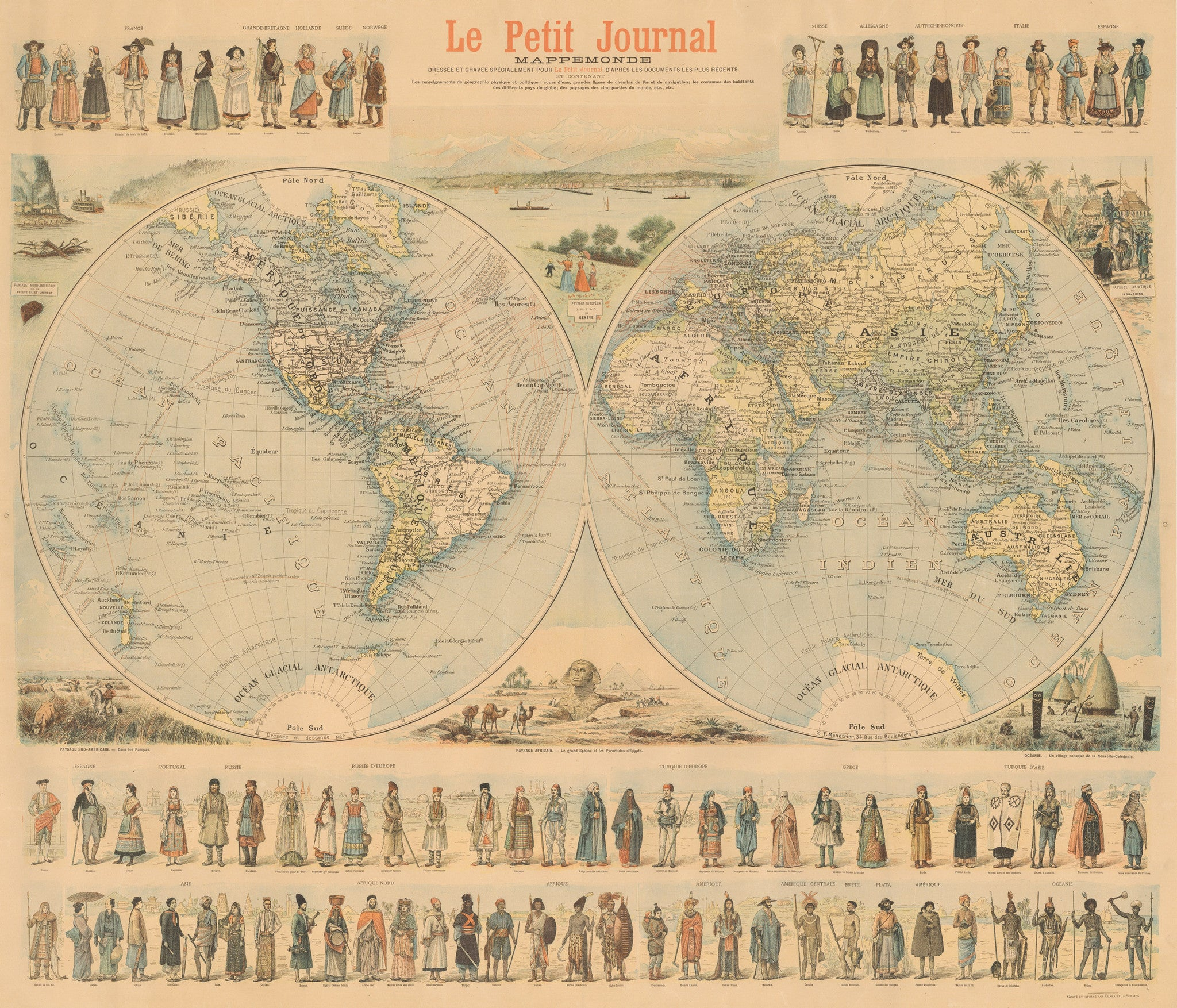 1900 Le Petit Journal Mappemonde - theVintageMapShop.com - the ...