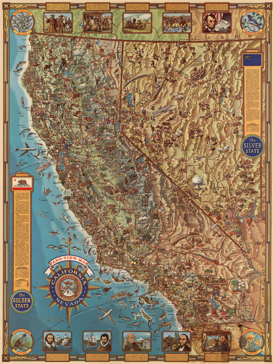1962 Pano-View Map - California & Nevada
