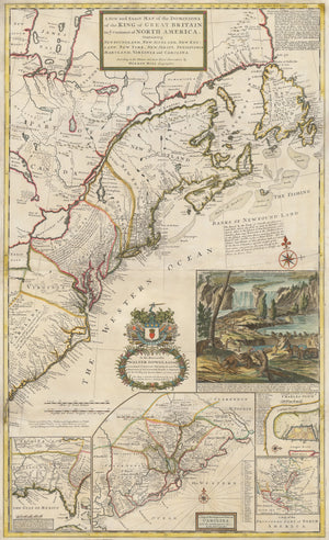 1731 A New and Exact Map of the Dominions of the King of Great Britain...