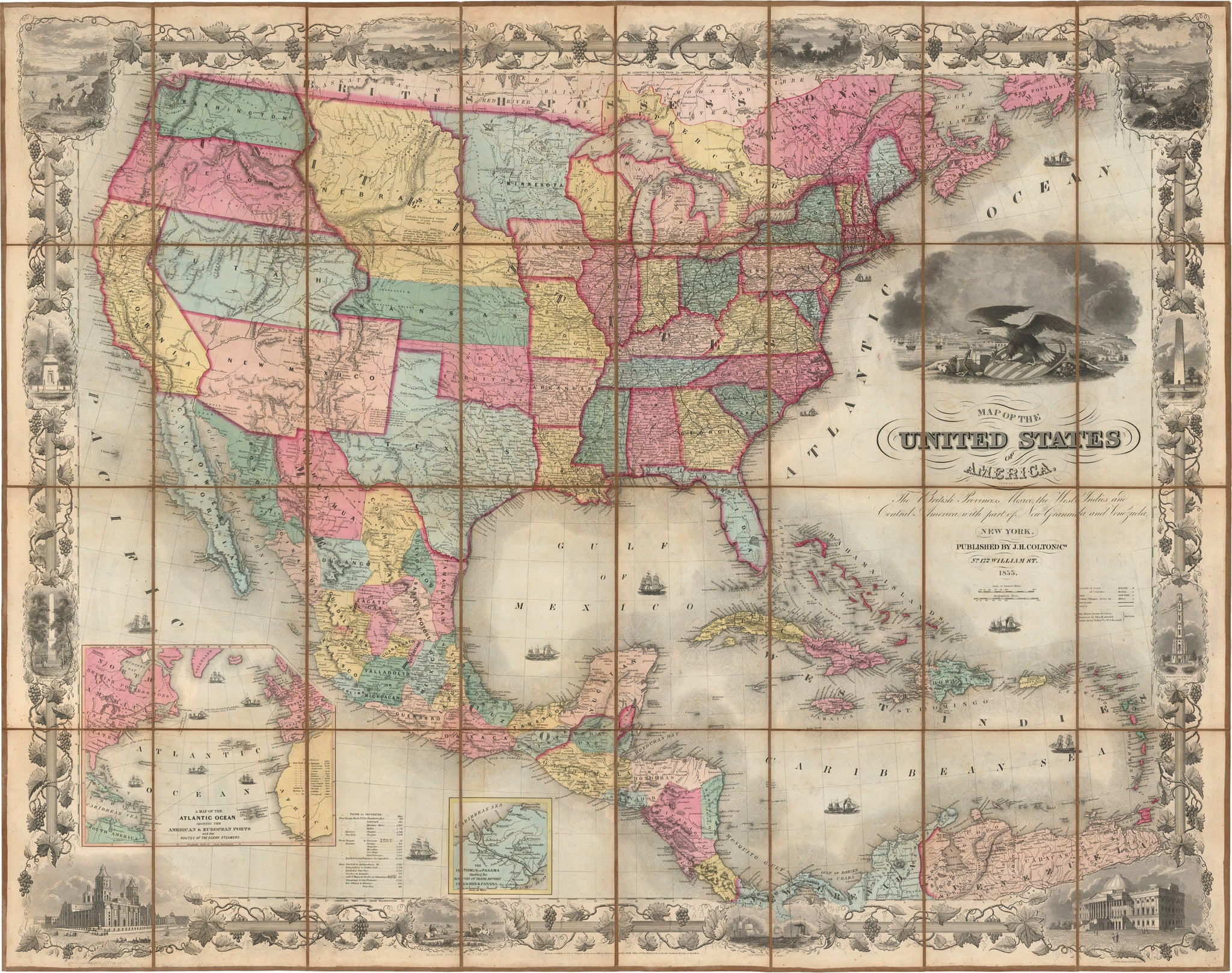 1855 Colton S Map Of The United States Of America