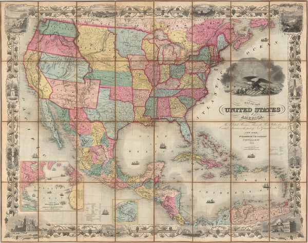 Colton's Map of the United States of America 1855