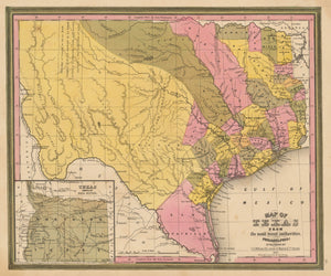 Vintage Map of Texas by: Tanner 1845 - theVintageMapShop.com