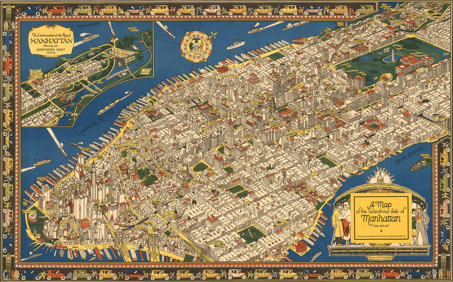 1926 A Map of the Wondrous Isle of Manhattan