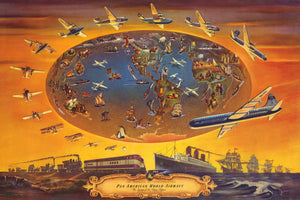 Vintage Pan American Airlines World Map