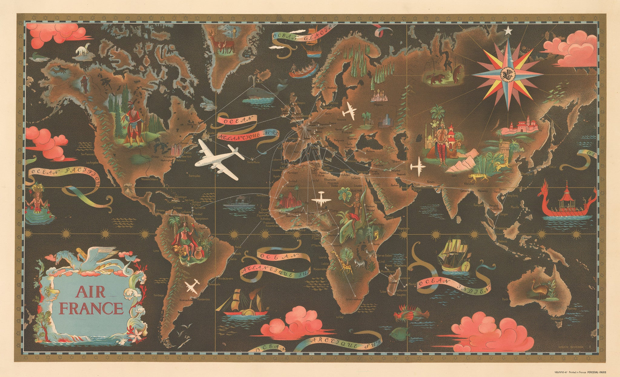 Air Map Of The World.1947 Air France By Lucien Boucher Thevintagemapshop Com The