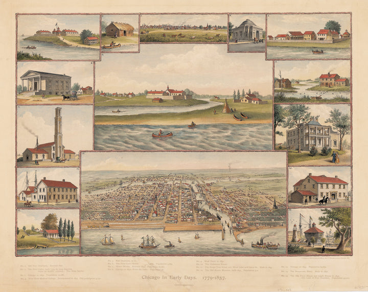 Authentic Antique Print: Chicago in Early Days 1779 - 1857 By: Kruz and Allison Date: 1893 (dated) Chicago