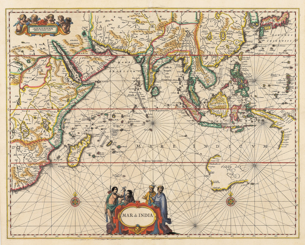 Vintage nautical maps tagged indian ocean the vintage map shop inc vintage map print of the indian ocean mar di india by jan jansson date publicscrutiny Choice Image