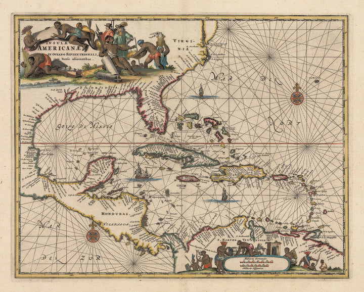 Vintage Map Print of the Caribbean: Insulae Americanae in Oceano Septentrionali cum Terris adiacentibus By: John Ogilby Date: 1671