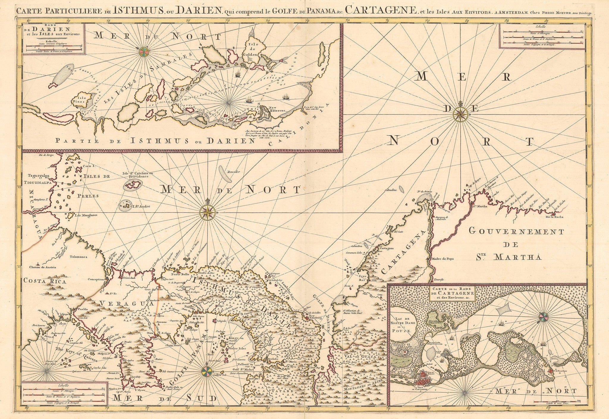1700 Carte Particuliere de Isthmus ou Darien - the Vintage Map Shop ...