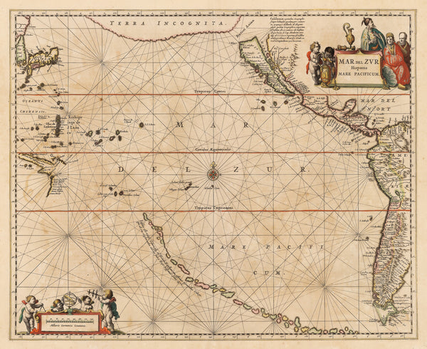 Vintage Map Print Of The Pacific Ocean Showing Claifornia As An Island Mar Del Zur