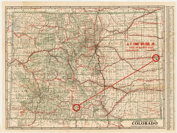 Clason's Guide Map of Colorado By: George Clason Date: 1920 (dated) Denver, Colorado Size: 17.25 x 23.5 inches - Antique,Vintage, Rare, Colorado