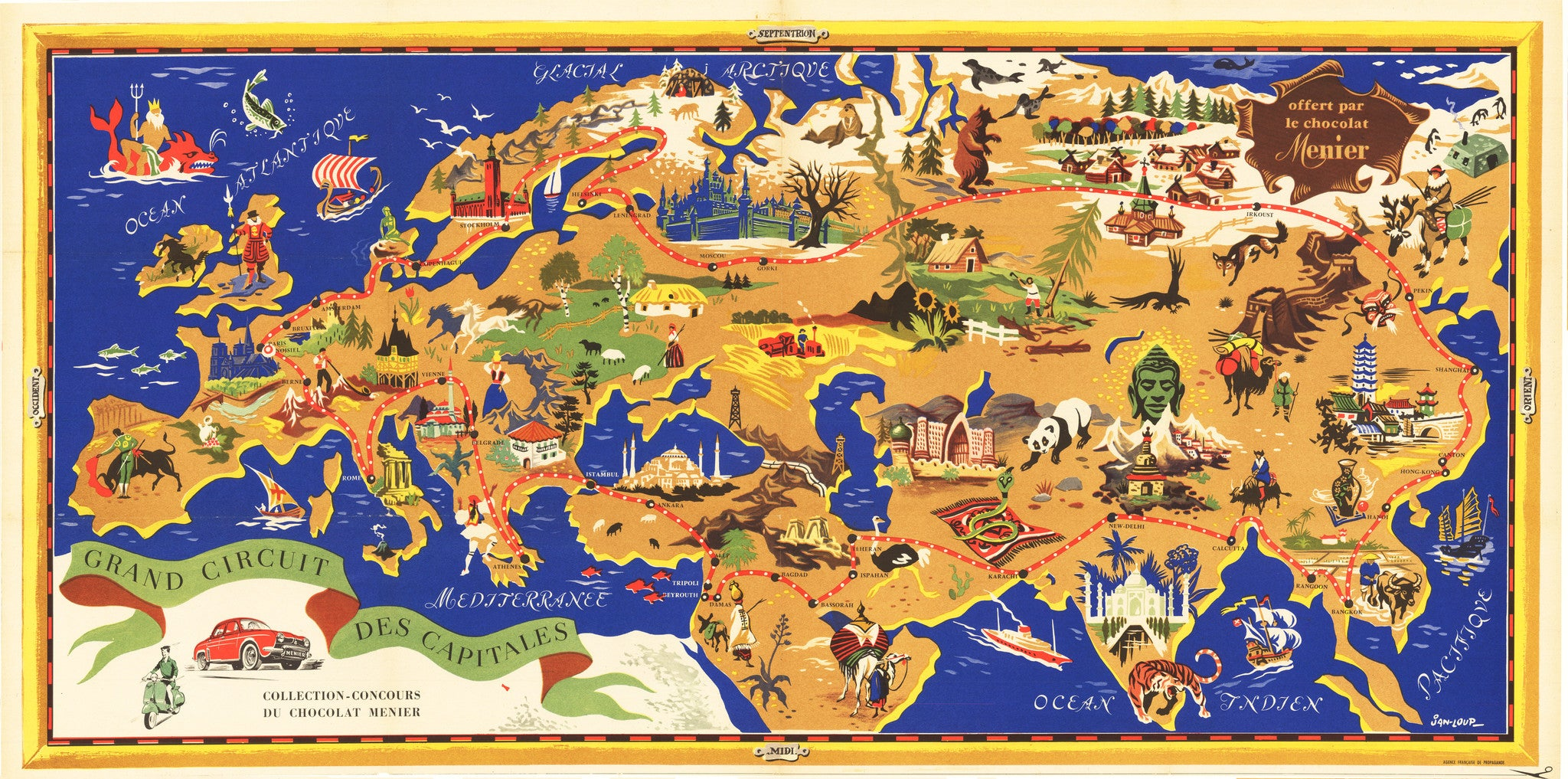 Map Of Europe 1950s.1950 S Pictorial Map Of Europe And Asia Thevintagemapshop Com